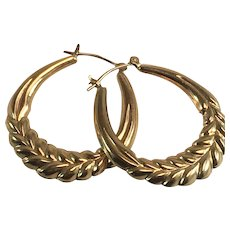 14K YG Large Hollow Hoop Earrings w/ Wheat Pattern