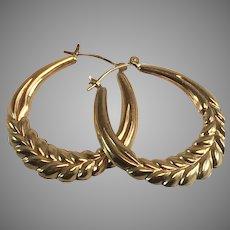 14K YG Large Hollow Hoop Earrings w/ Wheat Pattern