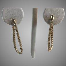 14K YG Flexible Hoop Mesh Chain Earrings
