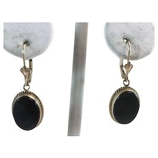 14K YG Black Onyx Drop Earrings Lever Backs