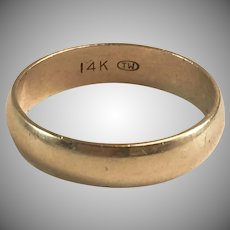 14K YG Plain and Simple Wide Wedding Band Ring Sz