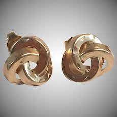 14K YG Love Knot Etched Stud Earrings