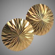 18K YG Round Shiny Pressed Flower Petal Design Earrings