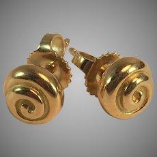 18K 750 YG Tiffany T & Co Swirl Stud Earrings