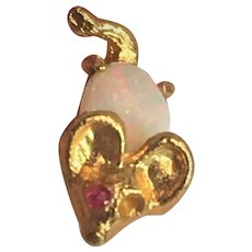 14K YG Opal Jelly Belly Mouse Stickpin Pin
