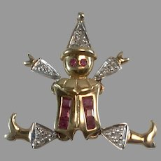 14K Gold Ruby & Diamond Articulated Clown Pendant/Charm