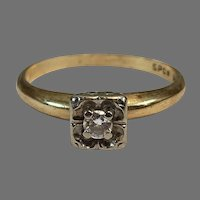 14K Yellow & White Gold 0.1 Ct Diamond Solitaire Ring Engagement Band Size 7.5