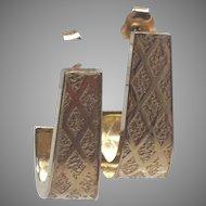 14K Yellow Gold Half Hoop Earrings with Diamond Design