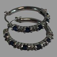 14K WG White Gold Blue Sapphire & Diamond Hoop Earrings