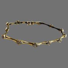 "10K Yellow & White Gold Diamond Bracelet 7"" 5.2 gm"