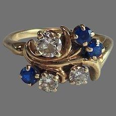 14K Yellow Gold Faux Diamond & Sapphire Cluster Ring Sz 6.5