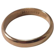 14K Yellow Gold Size 11 1/4 Plain and Simple Band/Ring