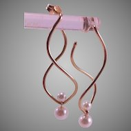 14K Yellow Gold Swirl Earrings with Cultured Pearl Jackets