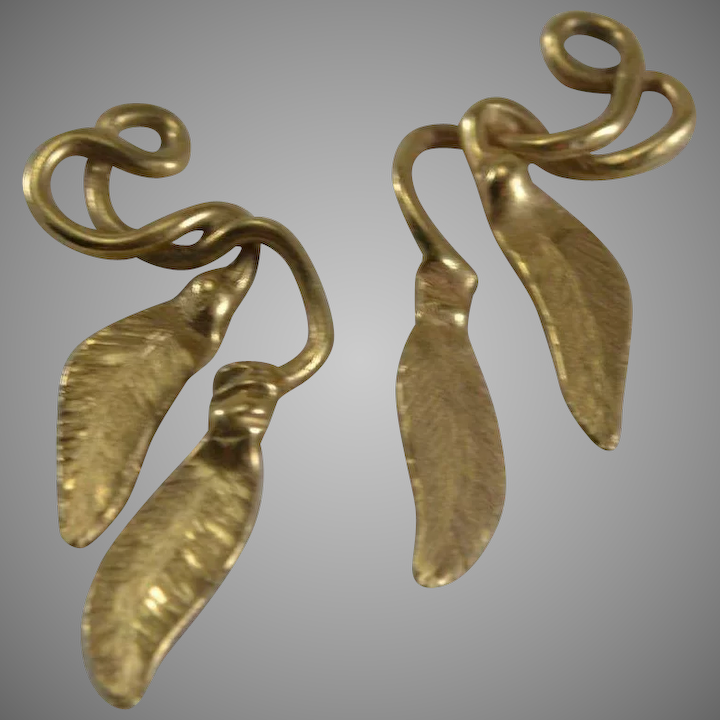 14kt Yellow Gold Feather Earring Jackets
