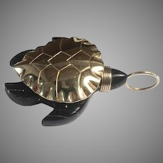 Bernard K. Passman 18K & Black Coral Sea Turtle Pendant