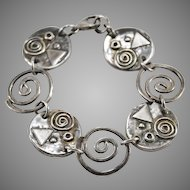 Sterling Silver Handmade 6 1/2 Inch Bracelet with Geometric MCM Design