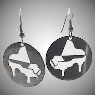 Sterling Silver Grand/Concert Piano Cut-Out Earrings