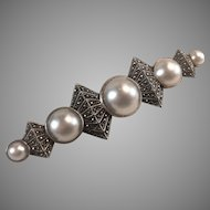 Extra Large Judith Jack Faux Mabe Pearl, Marcasite & Sterling Silver Bar Pin
