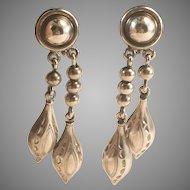 Danecraft Sterling Silver Double Drop Dangle Screw On Earrings