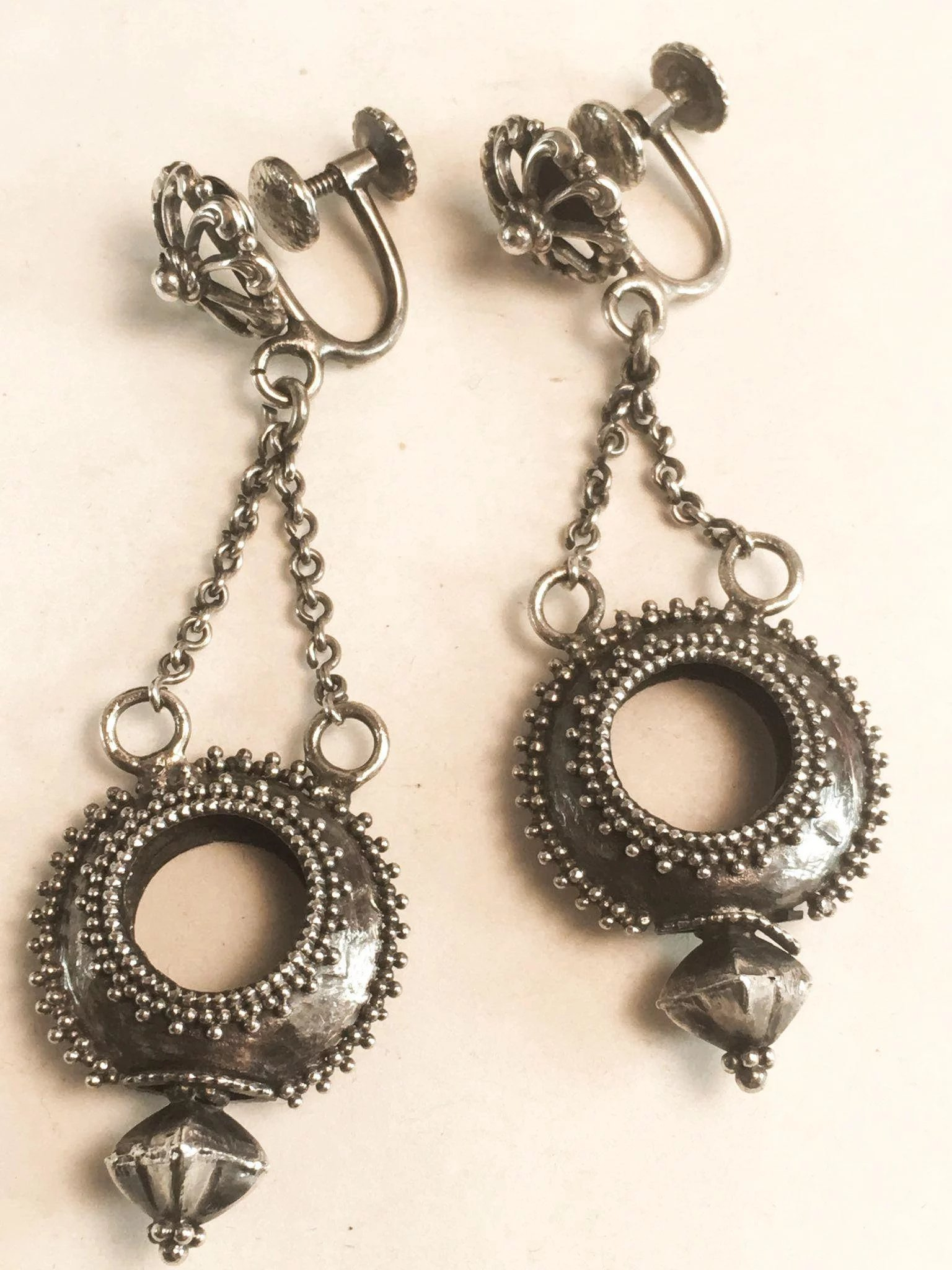 26166fa85 Sterling Silver Dangle Drop Screw On Earrings w/ Chains. Click to expand