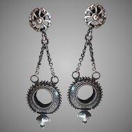 Sterling Silver Dangle Drop Screw On Earrings w/ Chains