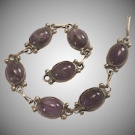 """Mexican Sterling Silver Cabochon Amethyst Link Bracelet 6 1/2"""""""