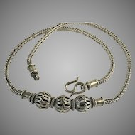 """Sterling Silver Bali Square Wheat 18"""" Chain w/ Cut-Out Ball Beads"""