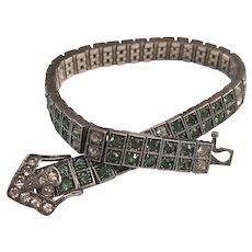 Diamonbar Sterling Silver Green & Clear Paste Rhinestone Art Deco Buckle Clasp Bracelet