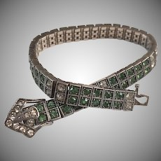 Diamonbar Sterling Silver Green & Clear Paste Rhinestone Art Deco Buckle Clasp Bracelet