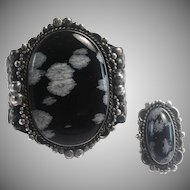 Native American Snowflake Obsidian Sterling Silver Cuff Bracelet & Ring Set
