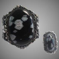 Native American Snowflake Obsidian Sterling Silver Cuff Bracelet & Ring Set