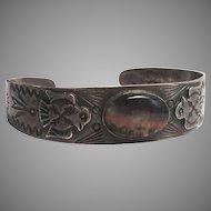 Native American Scenic Agate Sterling Silver Cuff Bracelet
