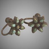 Zuni Petit Point Star/Flower Turquoise Sterling Silver Screw On Earrings