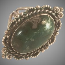 Native American Style Sterling Silver Green Turquoise Ring Sz 7