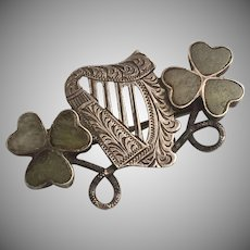 Antique Sterling Silver Connemara Marble Harp Shamrock Pin/Brooch