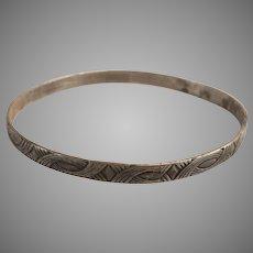 Vtg DANECRAFT FELCH & CO Sterling Silver 925 Signed Bangle Bracelet Art Deco