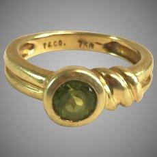 18K 750 YG Tiffany T & Co Peridot Ring w/ MCM Asymmetrical design Sz 3.5
