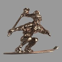 Large Sterling Silver Skier Pendant/Charm