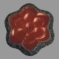 Chinese Sterling Silver Filigree Carved Carnelian Dress/Fur Clip