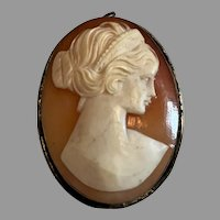 800 Silver Carved Shell Cameo Pin/Brooch/Pendant