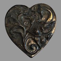 Sterling Silver Repousse Art Nouveau Style Lily in Heart Pin/Brooch
