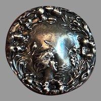 Sterling Silver Art Nouveau Pin/Brooch w/ Flowers Birds & Woman's Head
