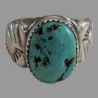 """Native American Sterling Silver & Turquoise Ring Signed """"D"""" Size 11"""