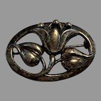 Coro Sterling Silver Modern Danish Design Tulip Leaves Pin/Brooch