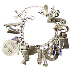 "Sterling Silver Charm 7"" Bracelet 82 Grams"
