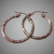 Sterling Silver Texture & Smooth Design Hoop Earrings