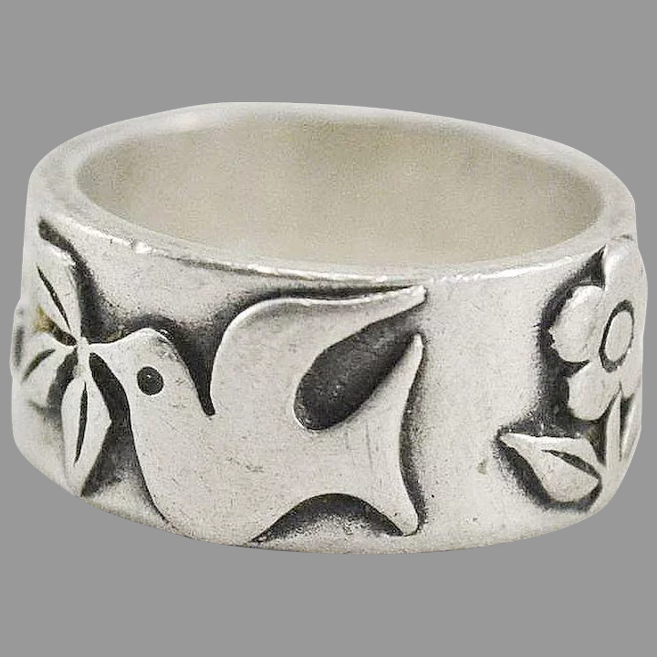 James Avery Sterling Silver Peace Dove Flower Band Ring The Moody Carpenter Ruby Lane