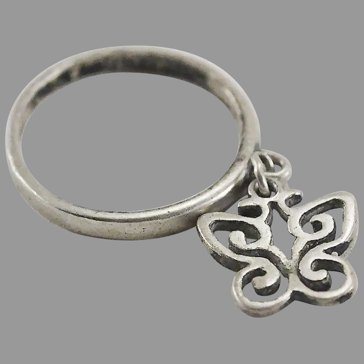James Avery Dangle Spring Butterfly Charm Ring Band The Moody Carpenter Ruby Lane