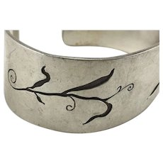 Sterling Silver Cuff Bracelet with Foliate Design