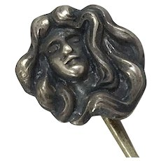 Art Nouveau Sterling Silver Stick Pin
